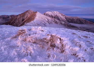 Morning twilight in Rodna Mountains National Park. View to Laptelui and Puzdra peaks. Carpathians, Romania