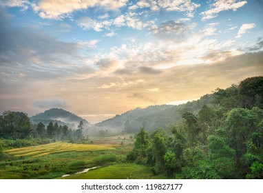 morning at urban village, Mae Hong Son, Thailand
