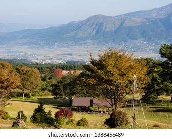 Morning view of the 5 peaks of Aso from the southern rim of Aso volcanic caldera - Aso-Kuju National Park, Kumamoto Prefecture, Japan