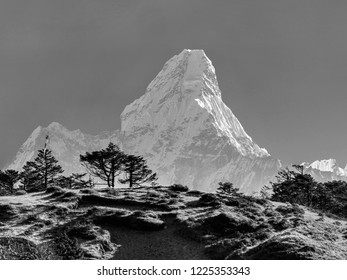 Morning view of the Ama Dablam (6814 m) - Everest region, Nepal, Himalayas (black and white)