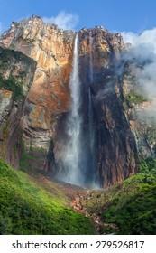 Morning view of the Angel Falls ( Salto Angel ) is worlds highest waterfalls (978 m) - Venezuela , Latin America