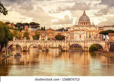 Morning view of Basilica St Peter and bridge Sant Angelo in Vatican City Rome Italy. Rome architecture and landmark.  St. Peter's cathedral in Rome.