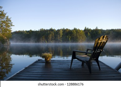 Morning view of the bay from the dock at the lake