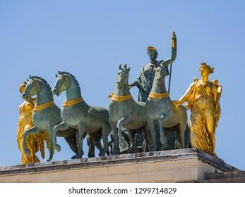 Morning view of the beautiful Arc de Triomphe du Carrousel at Paris, France