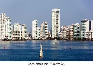 The morning view of Bocagrande prestigious residential district in Cartagena city (Colombia).