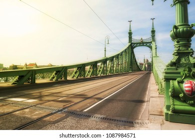 Morning view of Budapest Liberty Bridge and Danube river
