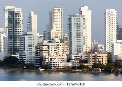 The morning view of Castillogrande prestigious beach district in Cartagena city (Colombia).