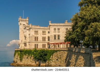 Morning view of Castle Miramare nearby Trieste against the blue sky and the blue sea
