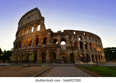 Morning view of Colosseum in Rome, Italy.