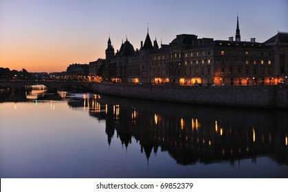 Morning view of Consiergerie from Pont Neuf (New Bridge), Paris, France