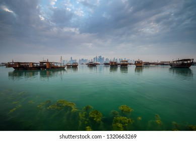Morning view of Doha Corniche, Qatar, Middle East.