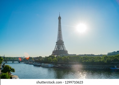 Morning view of the famous Eiffel Tower and downtown citypscape at Paris, France