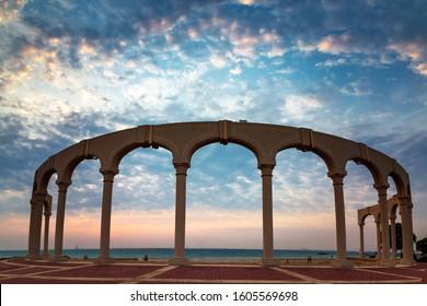 Morning view in Fanateer Beach - Al Jubail City,Saudi Arabia.