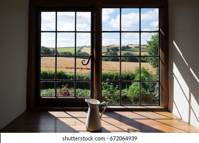 Morning view of fields through window