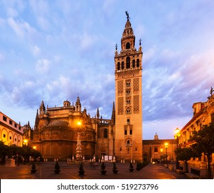 Morning view of  Giralda tower - was originally built as a minaret during the Moorish period. Seville