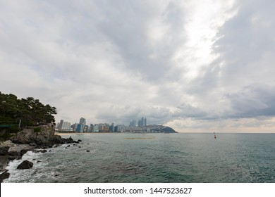 Morning view of the Haeundae Beach and cityscape at Busan, South Korea