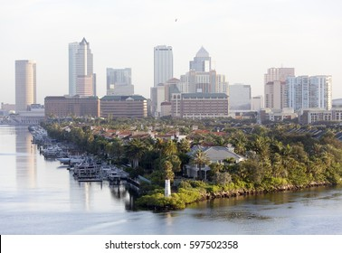 The morning view of Harbour Island point with a lighthouse and Tampa downtown in a background (Florida).