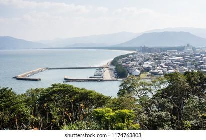 Morning view of Karatsu city and Karatsu bay from Karatsu castle hill - Saga prefecture, Japan