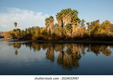 Morning view of the Kern River in Bakersfield, California, USA.