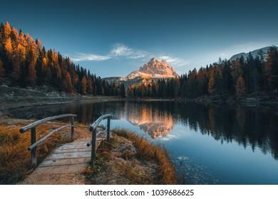Morning view of Lago Antorno, Dolomites, Lake mountain landscape with Alps peak , Misurina, Cortina d'Ampezzo, Italy.