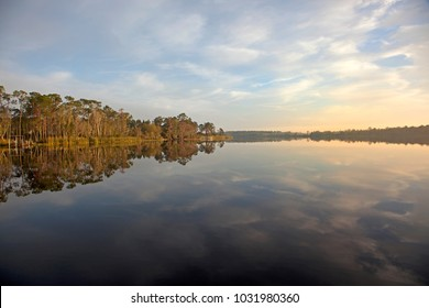 morning view of a lake in davenport, florida with reflection