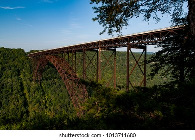 A morning view of the landmark New River Gorge Bridge, which carries US 19 over the New River, in West Virginia.
