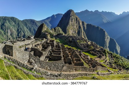 Morning view at Machu Picchu, the sacred city of Incas, one of the New 7 Wonders of the World, Peru