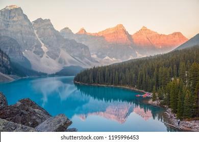 Morning view of Morraine lake, Lake Louise, Canada