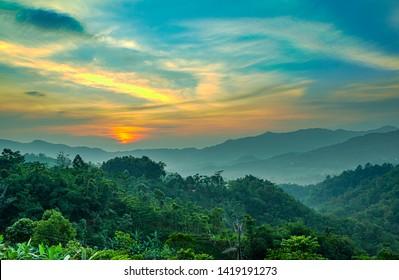 Morning view of Mount Halimun in Bogor, West Java, Indonesia