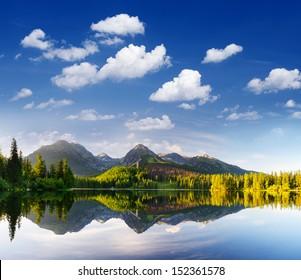 Morning view of mountain lake Strbske Pleso, Slovakia