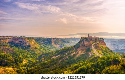 Morning view at the old town Civita di Bagnoregio - Italy