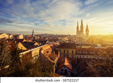morning view of old Zagreb. Croatia.