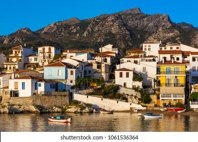 A morning view on beautiful Kokkari village on Samos island on Greece