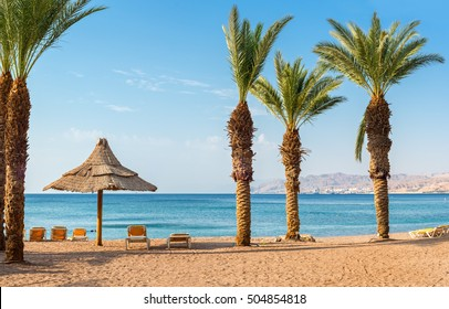 Morning view on the gulf of Aqaba from the central beach of Eilat