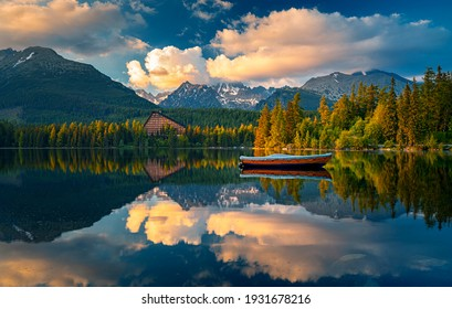 Morning view on High Tatras mountains - National park and Strbske pleso  (Strbske lake) mountains in Slovakia