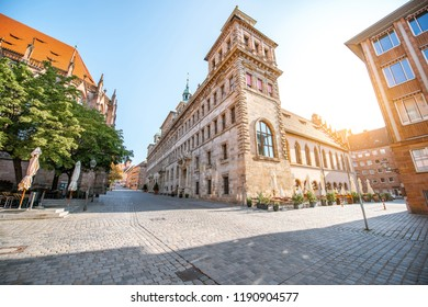Morning view on the old town hall building in Nurnberg, Germany