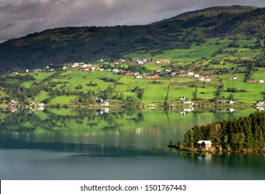 Morning view over lake Hafslovatnet in the Luster municipality in the Norwegian Sognefjord region