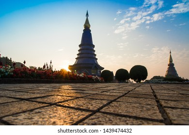 Morning view of the pagoda on Doi Inthanon, Thailand. This place is popular as a landmark in Chiang Mai.