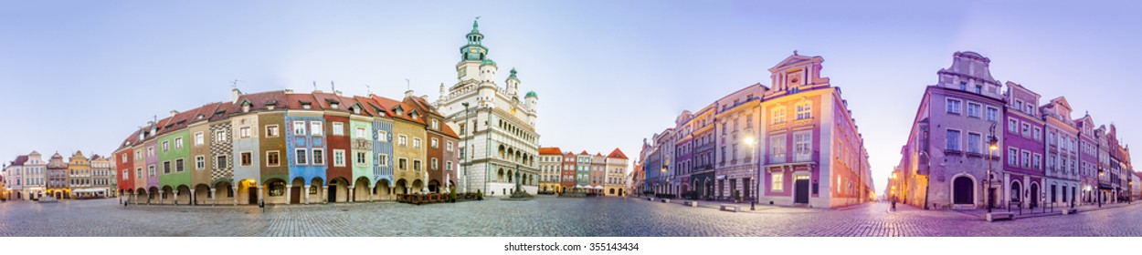 Morning view of Poznan Old Market Square in western Poland. Panoramic montage from 5 HDR images