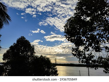 Morning view of sky, river and tree silhouettes. Slightly blurred concept and select focus.