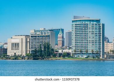 Morning view of some building around Lake Merritt at Oakland, California
