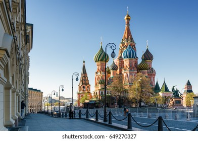 Morning view of St. Basil's Cathedral on Red Square, Moscow, Russia.