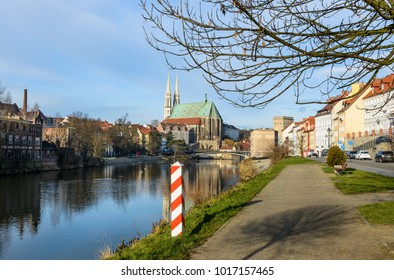 Morning view of St Peter and Paula's Church, on the Polish border. Colorful autumn cityscape of Gorlitz, eastern Germany, Europe. Traveling concept background.