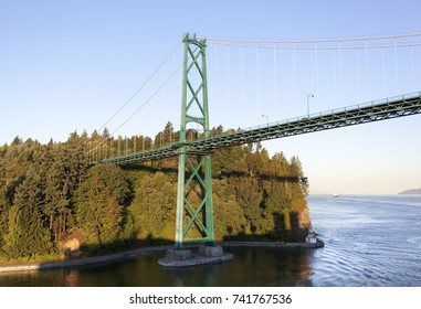 The morning view of Stanley park and Lion's Gate Bridge (Vancouver, British Columbia).