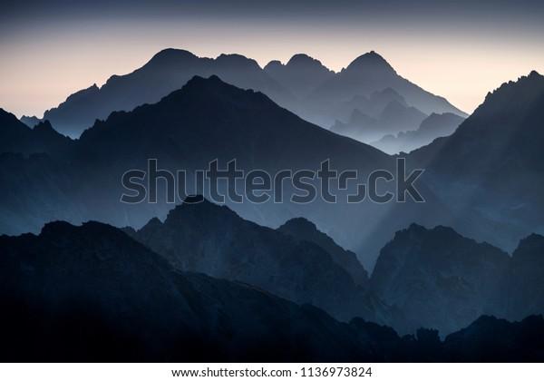 Morning view of the sunrise - High Tatras, Slovak Republic.