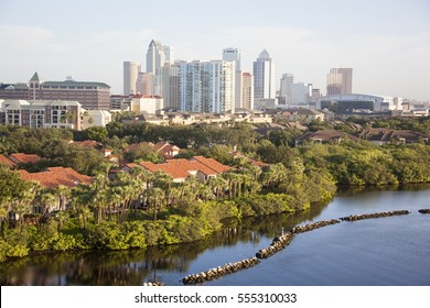 Morning view of Tampa city residential district with a downtown in a background (Florida).