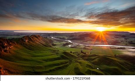 Morning view from Te Mata Peak, Hawke's Bay, New Zealand