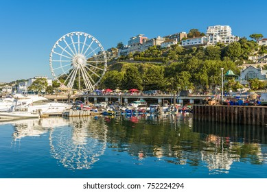Morning view of Torquay from the Harbour, Devon, England. August 2017