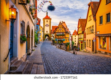 Morning view of untere Schmiedgasse street at the old town of Rothenburg ob der Tauber. Bavaria, Germany