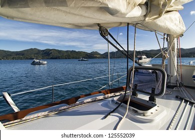 Morning view from yacht of Great Barrier Island, near Auckland, New Zealand